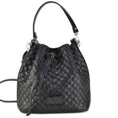 Black capitone pouch bag Pierro Accessories 90400