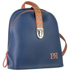 Blue/Tabac eco-leather backpack Pierro Accessories 90563