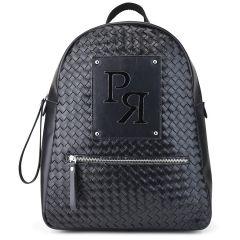 Μαύρο eco-leather σακίδιο πλάτης Pierro Accessories 90573