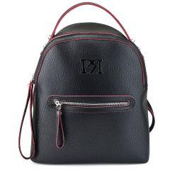 Μαύρο eco-leather σακίδιο πλάτης Pierro Accessories 90577
