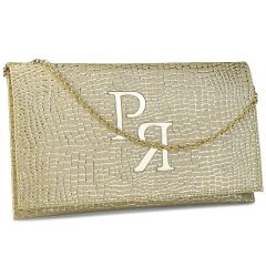 Gold croco tassel clutch Pierro Accessories 90586