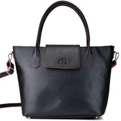 Black eco-leather shoulder bag Pierro Accessories 90587
