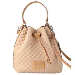 Μπεζ καπιτονέ τσάντα πουγκί Pierro Accessories 90400