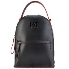 Μαύρο eco-leather σακίδιο πλάτης Pierro Accessories 90551