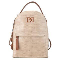 Μπεζ κροκό eco-leather σακίδιο πλάτης Pierro Accessories 90551