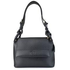 Μαύρη eco-leather τσάντα ώμου Pierro Accessories 90584