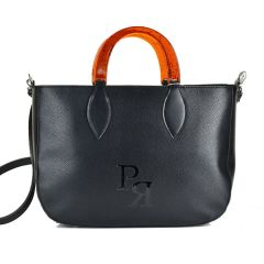 Black eco-leather shoulder bag Pierro Accessories 90608