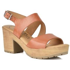 Leather tabac heel sandal Wikers 92082