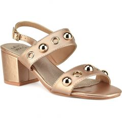 Copper suede heel sandal Let's Walk JN99-22