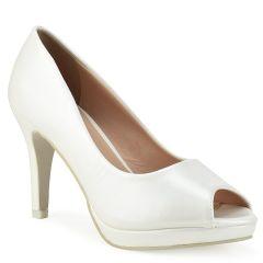 White peep toe pump A1-0086H