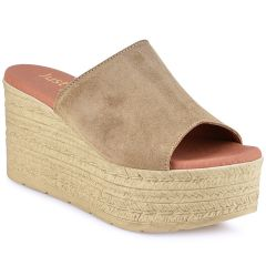 Leather taupe platform Just Prive JP400