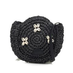 Ψάθινη μαύρη τσάντα χιαστή MTNG AMARI