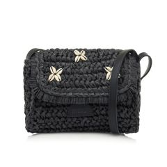 Black straw cross body bag MTNG ANEMON