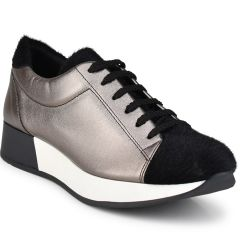 Pewter with pony leather sneakers HiLo A1000