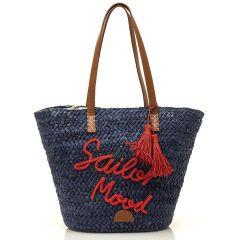 Μπλέ ψάθινη τσάντα θαλάσσης MTNG AZIMUT