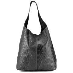 Δερμάτινη μαύρη κροκό hobo bag EMMA