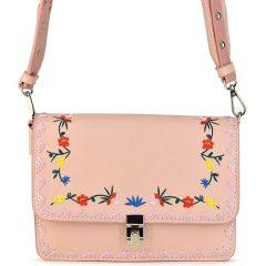 Pink cross body bag with flowers BC18033