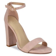 Nude suede heel sandal C7232