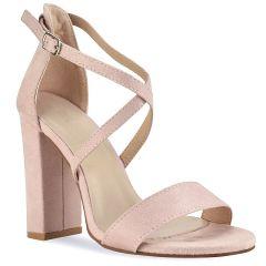 Nude suede heel sandal C7236