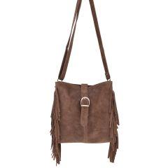 Leather brown cross body bag DAISY