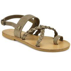 Taupe leather braided sandal Sandalo SD139