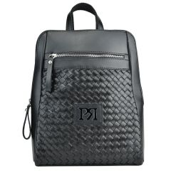 Black knitted eco-leather backpack Pierro Accessories 90580