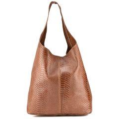 Δερμάτινη ταμπά κροκό hobo bag EMMA