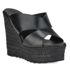 Leather black wedge Dolce 196304
