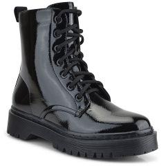 Black pattent biker boot HB-27