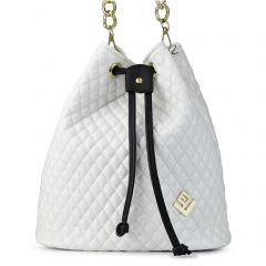 Λευκή καπιτονέ τσάντα πουγκί Lovely handmade Hypnotic