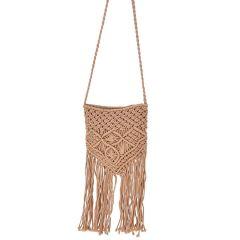 Beige knitted cross body bag IBIS