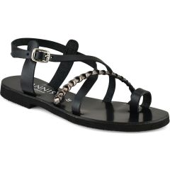 Black with nikel leather sandal IOANNIS ID28