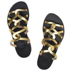Δερμάτινη χρυσή σαγιονάρα Iris Sandals IR20/21