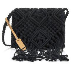 Μαύρη πλεκτή τσάντα χιαστή MTNG IRIA