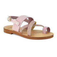 Pink leather junior sandal JJ003