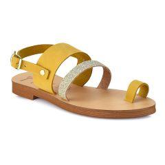 Κίτρινο δερμάτινο παιδικό σανδάλι JJ004