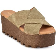 Leather taupe criss cross platform Just Prive 720