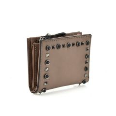 Taupe wallet with studs L124
