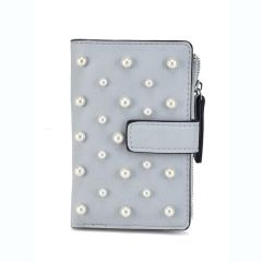 Grey wallet with pearls L172