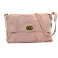 Pink leather shoulder bag NADIA