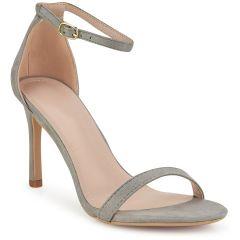 Grey suede heel sandal P6396