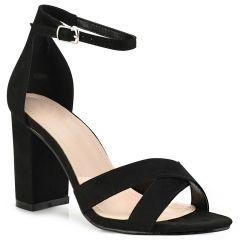 Black suede heel sandal C7236