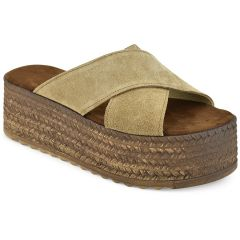 Leather taupe criss cross flatform QUOD GT732