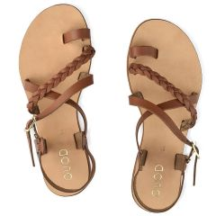 Leather tabac sandal QUOD QD28