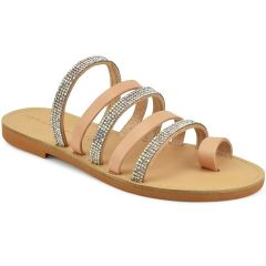 Natural leather slipper with strass Beatrice R038