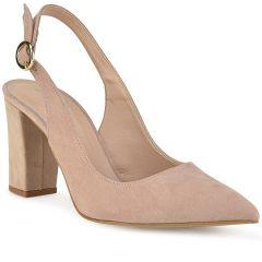 Nude suede open heel pump R600S