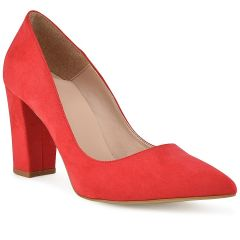 Red suede pump R740S