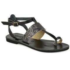 Leather black sandal with prints Tsakiris Sandals TS608