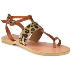 Leather animal print sandal Tsakiris Sandals TS608