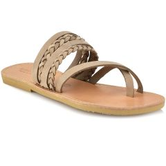 Leather beige slipper Tsakiris Sandals TS1025